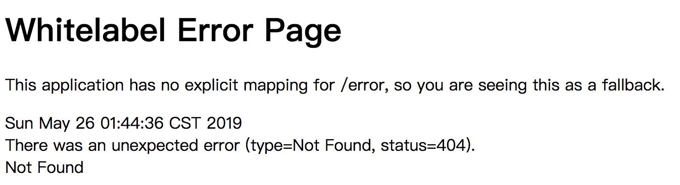 Whitelabel Error Page