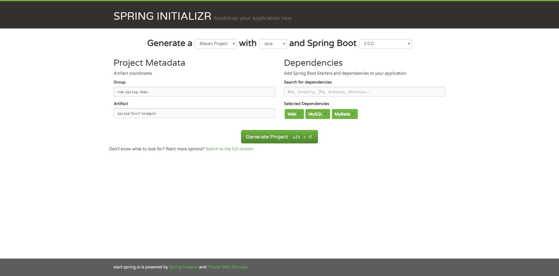 直接下载SpringBoot快速启动项目-项目配置