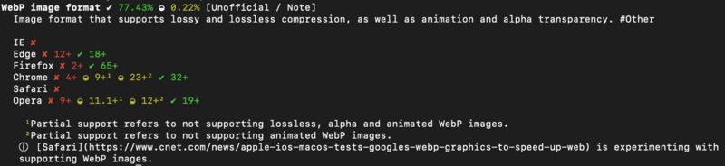 codecaniuse webp/code 的命令行输出结果