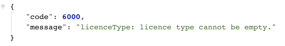 licence type cannot be empty